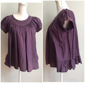 gorman Ruffle Short Sleeve Purple Blouse